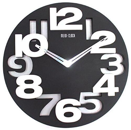 Horloge murale design moderne de cuisine/salle de bain/bureau Noir Décoration calme