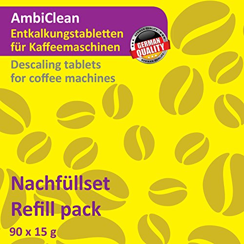 Pflege 90 Tabs (90 Entkalker-Tabletten je 15 Gramm für Kaffeevollautomat, Kaffee-Maschine, Kaffee-Automat und Wasserkocher | Kalk-Entferner für alle Geräte-Marken von AmbiClean | Hergestellt in Deutschland)