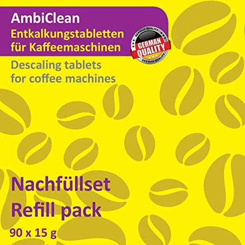 AmbiClean 90 Entkalker-Tabletten je 15 Gramm für Kaffeevollautomat, Kaffee-Maschine, Kaffee-Automat...