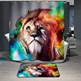 Beddingleer 180cmX180cm Four Seasons Watermark Style Shower Curtain, Extra Long Bath Decorations Bathroom Decor Sets with Hooks, Art Print Polyester Pongee Fabric, 71 x 71-Inch (Lion )