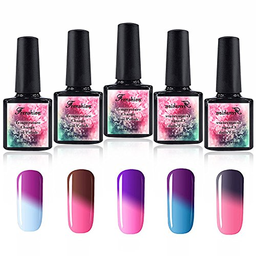Frenshion Set of 5pcs Shellac UV LED Gel auflösbarer Nagellack Farbwechsel Thermo Gel 10ml