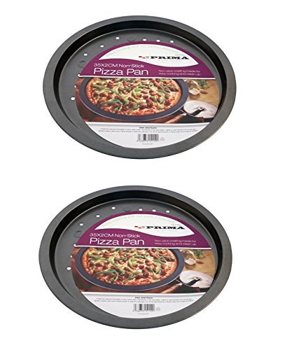 2 x Large Non Stick Vented Pizza Pan Oven Baking Tray 35cm x 2cm Carbon Steel