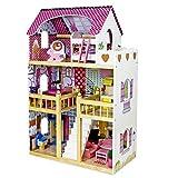 Sapphire Kids Puppenhaus Holz MDF 3 Etage Puppenstube Puppenmöbel Spielset mit Zubehör Set 019