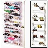 Vinteky®Zapatero Para 36 Pares de Zapatos Para Colgar Sobre La Puerta con 12 Niveles Estantes Ajustable Soporte Organizador De Almacenamiento