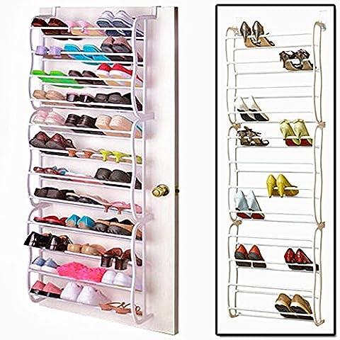 Vinteky® 36 Paire Support de rangement étagère à chaussures pour Organisateur à Suspendre sur Porte Stockage