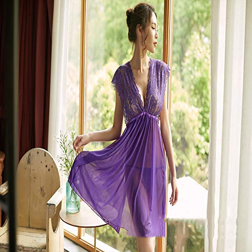 HUJUNH Damen Sex Dessous Uniformen Versuchung Knospe Seide Gaze Straps Home Service Pyjamas,Purple,M -