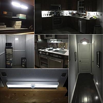 AMIR LED Schrankbeleuchtung, Nachtlicht mit Bewegungsmelder, 10 LED Batteriebetrieben Kabinett Nachtlicht, Auto On/Off PIR Motion Sensing Licht