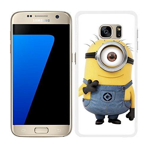 FUNDA CARCASA PARA SAMSUNG Galaxy S7 Edge CARA MINION UN OJO BORDE BLANCO