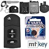 Mazda Autoschlüssel Funk Fernbedienung Austausch Gehäuse mit 3 Tasten + Rohling + Batterie für Mazda 2 DE 6 GH CX-7 ER MX-5 NC 3 BL 5 CR B