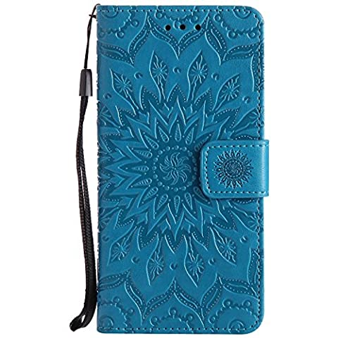 Mokyo Folio Leather Wallet Case for Samsung Galaxy J5 2017/J520 [Free Stylus Pen] Premium Soft PU Leather Wallet Case Embossed Sunflower Mandala Floral Design with [Card Slots][Stand Function][Magnetic Closure] Detachable Hand Strap Slim Flip Protective Book Style Skin Cover Shell for Samsung Galaxy J5 2017/J520 - Blue