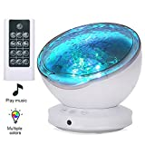 [2019 Upgraded]Ocean Projector Lamp Night Light+Remote Control+Timer, Bedside Child Lights Baby Gifts