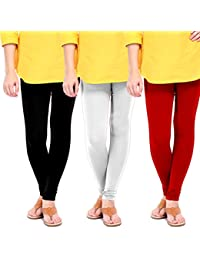 Chudidar Cotton Leggings By Ancientstar (Pack Of 3) (2XL, Black White And Maroon)