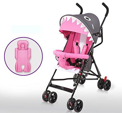 Carros de bebé plegables portátiles ultra-ligeros, pueden sentarse los carros de los niños simples, mini paraguas del bebé, cochecito de bebé ( Color : Pink )