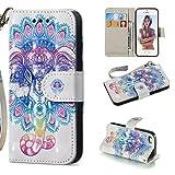 HICYCT Coque iPhone Se/Coque iPhone 5S/Coque iPhone 5,Etui en Cuir de Première Qualité avec Les Fentes de Carte et Stand pour iPhone SE/5S/5(Éléphant coloré)
