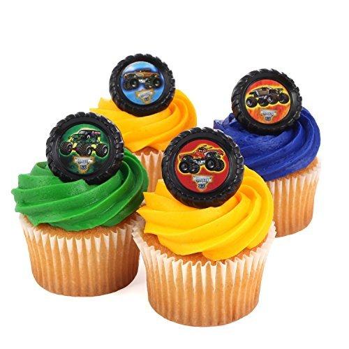 Monster Jam Officially Licensed 24 Cupcake Topper Rings by Bakery ()