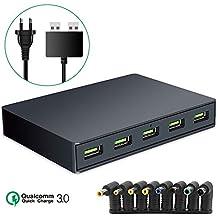VIFLYKOO Hub USB Cargador Rápido 3.0 Concentrador 5 puertos Todos Admiten Quick Charge Adaptador para Ordenador portátil, iPhone, iPad, Galaxy Note 8, Samsung Galaxy S8 plus, Huawei P10 - Negro