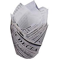 caissettes tulipa Bulk decorativas papel tulipa Cupcakes en papel periódico 50pcs Copa de Navidad gteau de horno papel taza Copa de gteau mafen–fancylande, blanco