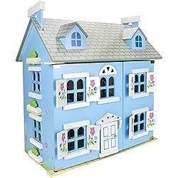 Villa de muñecas de madera con muebles y muñecos