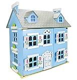 Bella Alpina Casa Delle Bambole In Legno Mobili Di Famiglia e Bambole Piani In Legno Accessori Bambole Incluse Alta Qualità Buon Divertimento Blu