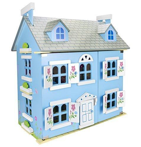 Alpine Blau Villa Schöne Puppenhaus aus Holz mit Möbeln und Familie Puppen, Familienhaus, Häuser