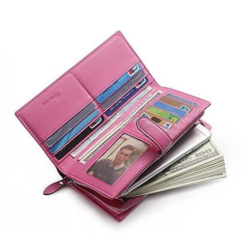 Teemzone Schicke Geldbörse Damen Clutch Unterarmtasche Portemonnaie Port Echtes Leder Rosa Druckkhopf