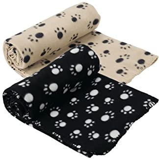 Extra Large Soft Cosy Warm Fleece Pet Dog Cat Animal Blanket Throw 140 x 100cm - Black 22
