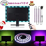 TV Backlight USB Bias Lighting Kit SOLMORE LED Strip Lights 2M Monitor Light RGB Color Changing with Remote TV Accent Lighting for Theater PC Monitor Desktop Home Decorations(4pcs x 50cm)
