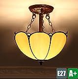 Tiffany Retro Deckenleuchte Kreative Deckenlampe Vintage Decken Dekoration Beleuchtung Schön Innenbeleuchtung Schlafzimmer Leuchte Wohnzimmer lampe Gelb Runden Glas lampenschirm 2*E27