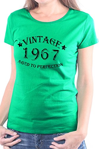 Mister Merchandise Camiseta para Mujer T-Shirt 47 48 Vintage 1967 Aged To Perfection Years Jahre Geburtstag , Ladies Tee Tamaño: S, Color: Verde