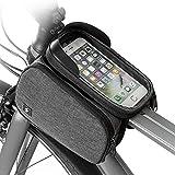 Leo565Tom Bolsa para el Manillar de Bicicleta para Smartphone Bolsa de Manillar Impermeable Doble Bolsa extraíble con Pantalla Transparente Táctil Sensible para Ciclismo Deportes al Aire Libre Negro