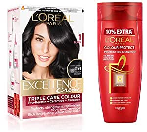 L'Oreal Paris Excellence Creme Hair Color, 1 Black, 72ml+100g And L'Oreal Paris Color Protect Shampoo, 360ml (With 10% Extra)