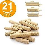 Lot de 21 chevilles en bois assorties M6 M8 M10 rainurées en bois dur pour meubles,...