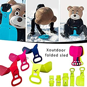 franktea Kunststoff Ski Pad Schlitten, Winter Snow Sledge Rodelbrett Für Erwachsene Kinder Wintersport