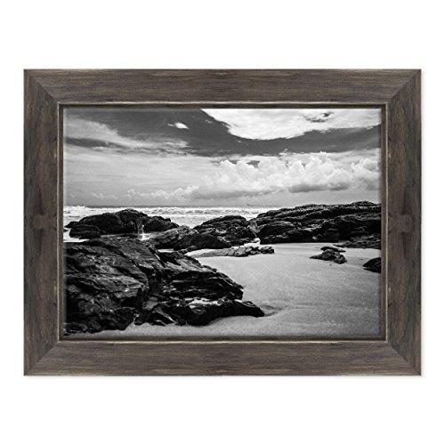 ConKrea Bild auf Leinwand Canvas-Gerahmt-fertig zum Aufhängen-Ozean Ansel Adams Weiß und Schwarz-Landschaft Natur Panorama Dimensione: 50x70cm D - Colore Nero Shabby -