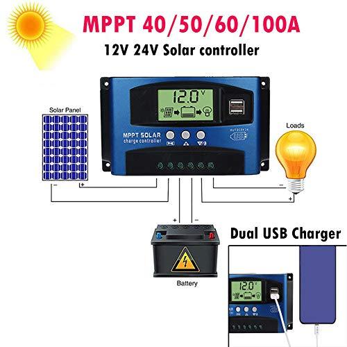 Solar-Laderegler, Solar-Panel-Controller, intelligenter Regler, automatischer digitaler Timer, LCD-Display, Dual-USB-Aufladung für iPhone Android Handys -
