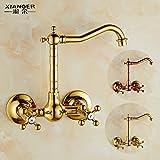 Qwer Wasserhahn Cu alle Badewanne mit Dusche Badewanne Armatur 3 Warmes und kaltes Wasser Ventil Badezimmer Hell und Dunkel gemischt mit einfacher Dusche Kit, Rose Gold für Bad