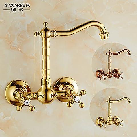 Qwer Wasserhahn Cu alle Badewanne mit Dusche Badewanne Armatur 3 Warmes und kaltes Wasser Ventil Badezimmer Hell und Dunkel gemischt mit einfacher Dusche Kit, Ho Gold für Bad