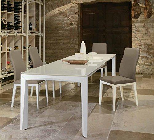 Friulsedie Table Extensible T78 Matrix 140 x 90 Super Jambes hêtre laqué Brillant Blanc Plan Verre