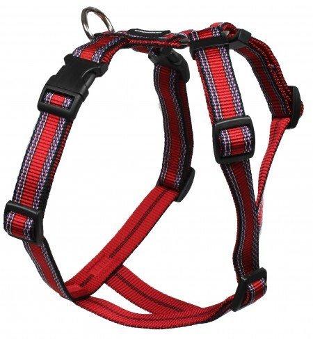 hundeinfo24.de Feltmann Mopsgeschirr Hundegeschirr Soft Nylon, Rot mit Muster, 7-13 kg, 20mm