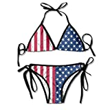 Rdiep Fashion Womens Sexy Padded Bikini Set American Flag The Stars and Stripes Printing Adjustable Swimsuit 2 Piece