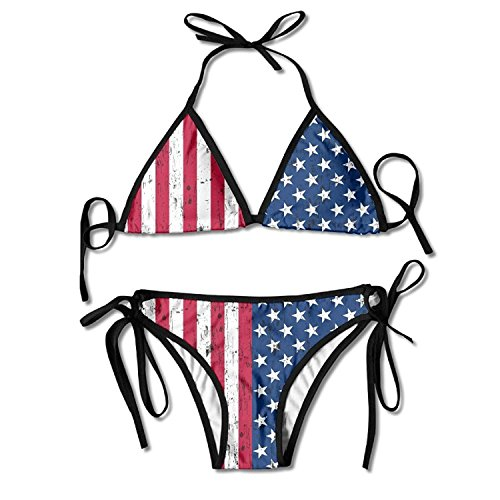 Fashion Womens Sexy Padded Bikini Set American Flag The Stars and Stripes Printing Adjustable Swimsuit 2 Piece