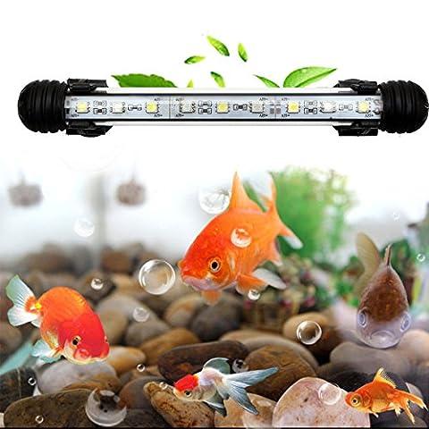 GreenSun LED Lighting 18cm Weiß Leuchte Aquarium Beleuchtung 9x 5050SMD Lampe wasserfest Unterwasserlicht langsames Aufleuchten Deko für Aquarium Fische Tank