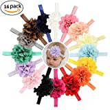 SHELE Baby Girls Hollow Out Flower Headbands Infant Toddlers Elastic Hair Band Headwrap (C(16PCS/Set))