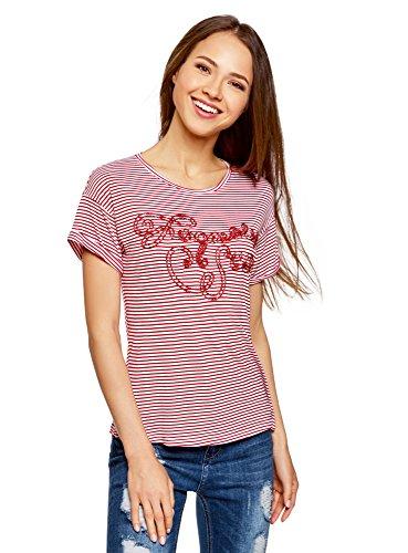 oodji Ultra Damen Gestreiftes T-Shirt mit Lurex-Schriftzug Rot (1045S)