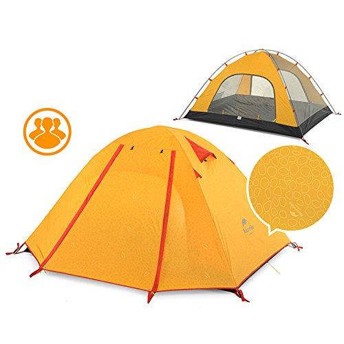 Tentock Zelt im Freien 1-4 Personen Doppelschicht Campingzelt Wasserdicht 3000 mm + für Backpacking Reisen Wandern(P3,orange mit prägung)