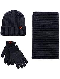 5c38e57f54d Unisex Scarf Hat Glove Set-Soft Stretch Warm Knit Hat Cap Beanie Mitten  Scarves Touchscreen Gloves Fashion 3 in 1 Winter Cold Gift Set for…