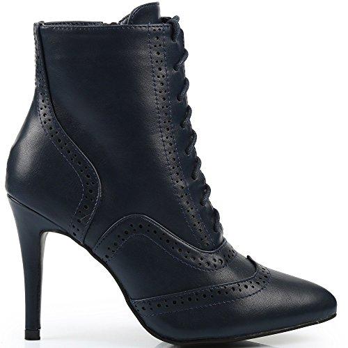 Ideal Shoes-Scarpette con lacci Joane a lama Blu (Marina)
