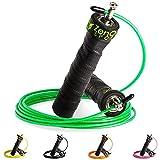 ZenRope - Speed Rope Springseil Sport mit GRATIS E-Book I Extra-Stahlseil, Tasche & Einstiegsguide I Rope Skipping Seil High Speed Workout Springschnur (Grün)