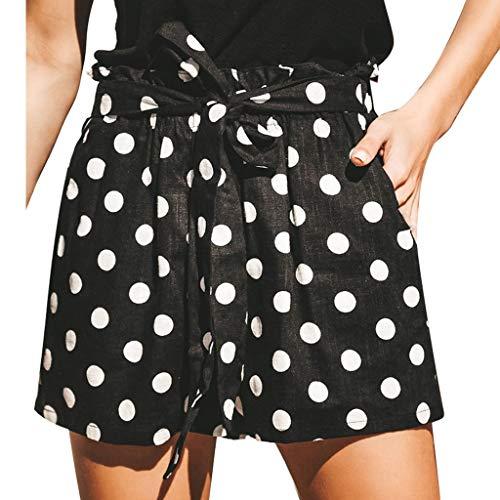 Qingsiy Pantalones Cortos Mujer De Verano Pantalones Corto Elástico con Estampado A Lunares De Mujer Pantalón De Playa Mallas Leggins Mujer Fitness Chandal(Negro,S)