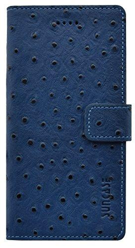 Étui style livre en cuir autruche cuir étui en cuir housse coque case Étui avec fonction support et compartiment carte) bleu